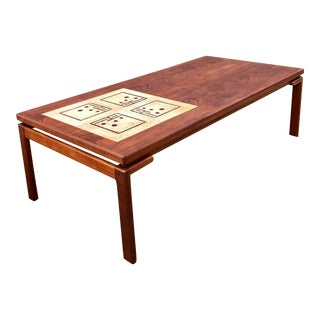 Large Teak Coffee Table With Inlaid Tile by Bramin For Sale