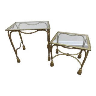 Maison Bagues Style Brass Rope and Tassel Tables - a Pair Last Markdown For Sale