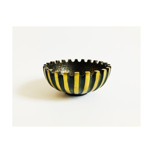 Gold Vintage Modernist Brass Bowl by Maurice Ascalon for Pal Bell For Sale - Image 8 of 8
