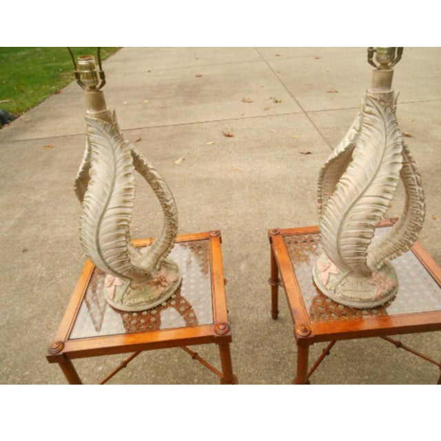 Reed Style Palm Beach Tree Leaf Lamp - a Pair For Sale - Image 4 of 6