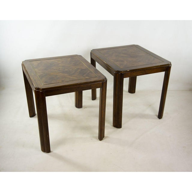 Drexel Campaign Style Burl Wood Side Tables - A Pair For Sale - Image 13 of 13