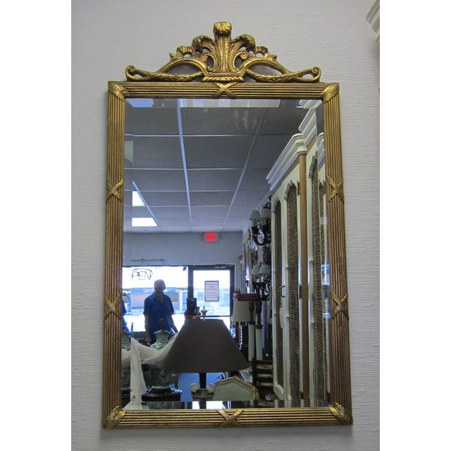 Gold Prince of Wales Gilded Ribbon Wood Carved Mirror For Sale - Image 8 of 10