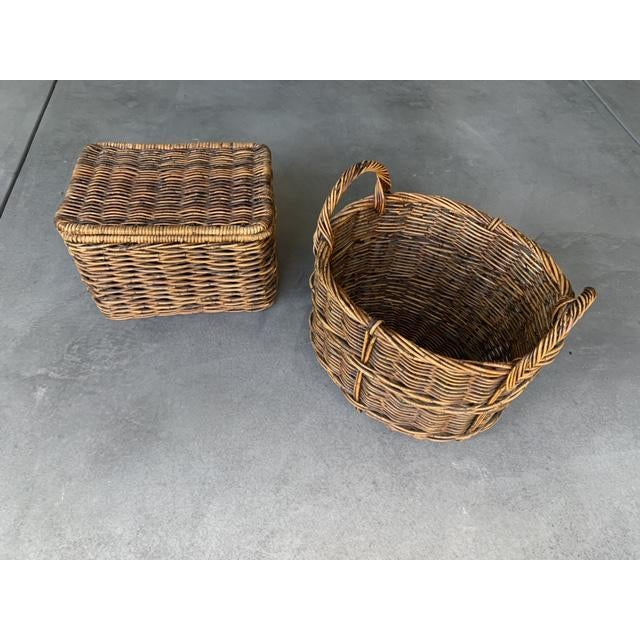 Pottery Barn Woven Rattan and Wicker Lidded Basket For Sale In Los Angeles - Image 6 of 7