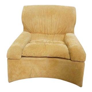 Saporiti Vela Alta Suede Lounge Chair by Giovanni Offredi For Sale