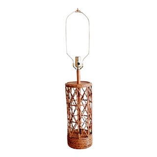 20th Century Asian Bamboo and Rattan Table Lamp For Sale