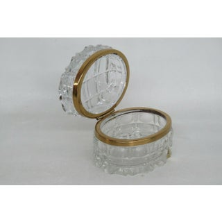Oertel Crystal Clear Glass Gold Trim Hinged Casket Jewelry Trinket Box Preview