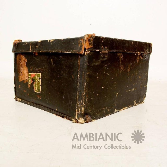 Black Canvas Travel Case / Box With Leather Handle For Sale - Image 4 of 10