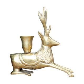 Vintage Brass Reindeer Candle Holder For Sale