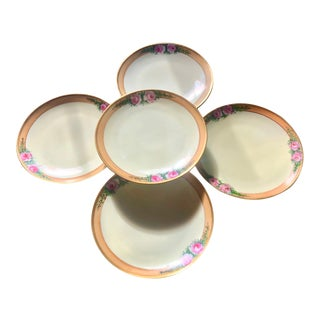 1920s Thomas Bavaria Hand Painted Gilt Rose Dessert Plates - Set of 5 For Sale