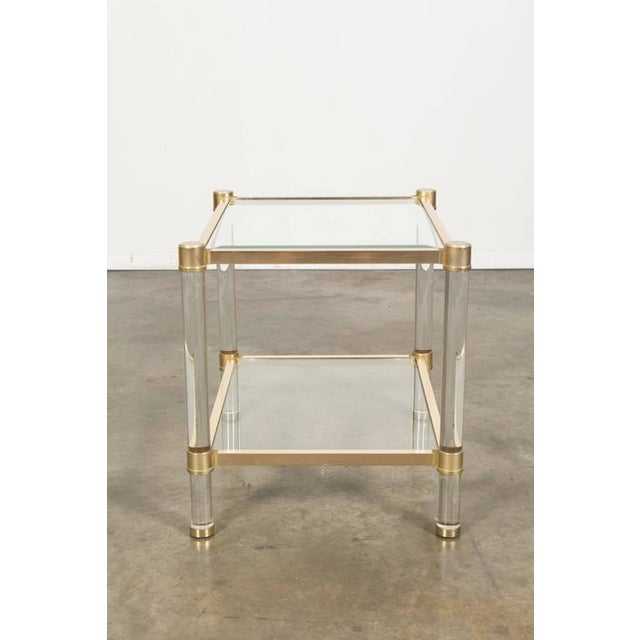 Art Deco French Rectangular Lucite and Brass Two Tier Side Table For Sale - Image 3 of 12