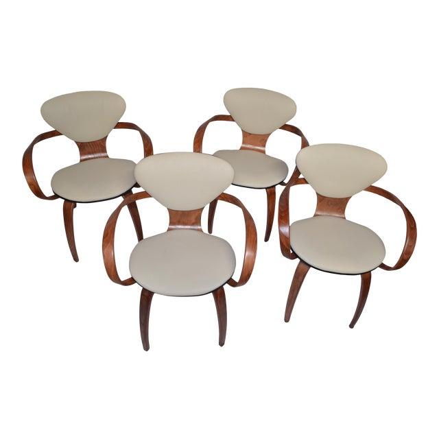 1950s VintageNorman Cherner for Plycraft Pretzel Armchairs - Set of 4 Newly Upholstered For Sale