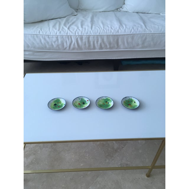 Vintage Green and Primary Color Enamel on Copper Dishes - Set of Four For Sale - Image 10 of 12