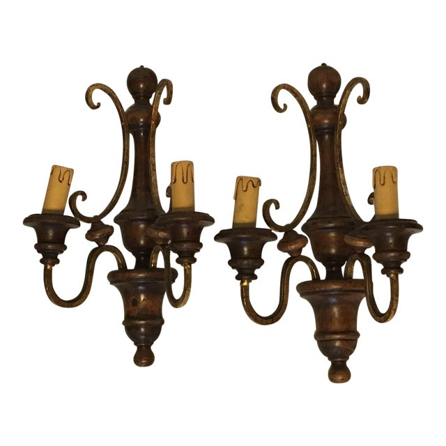 Wood and Gilded Metal Shabby Chic Sconces - A Pair - Image 1 of 5