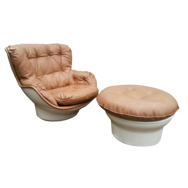 Michel Cadestin Karate Lounge Chair with Ottoman for Airborne Intl. For Sale