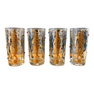 Vintage Culver 22k Gold Mardi Gras Highball Glasses / Culver Jester Jeweled Cocktail Glasses For Sale