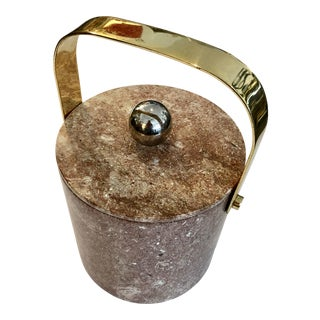 Mid-Century Heavy Solid Marble & Brass Ice Bucket For Sale