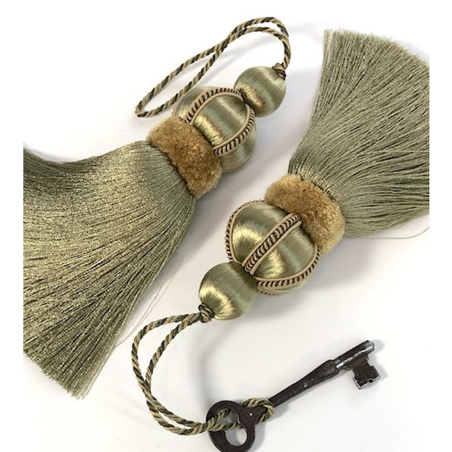 Olive Green Key Tassels With Cut Velvet Ruche - a Pair For Sale - Image 10 of 11