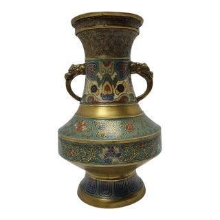 Antique Chinese Asian Cloisonne Enamel on Bronze Vase For Sale