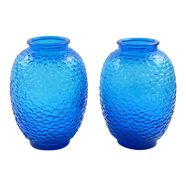 Pierre d'Avesn for Cristallerie Choisy-Le-Roi Blue Molded Glass Vase, a Pair For Sale