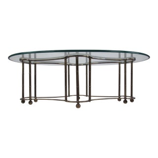 Mid-Century Glass and Brass Coffee Table by Mastercraft For Sale