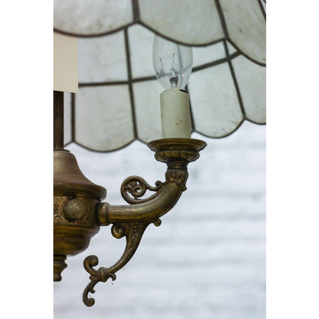 Faux Slag Glass Hanging Lamp on Chain - Image 3 of 3