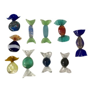 Multicolor Gilded Murano Glass Candy Pieces - Set of 10