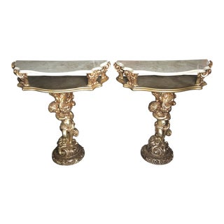 1970s Traditional Cherub Marble and Wooden Consoles - a Pair For Sale