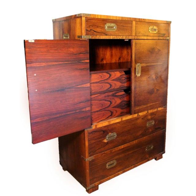 John Stuart 20th Century Campaign John Stuart Rosewood and Brass Highboy Dresser For Sale - Image 4 of 13