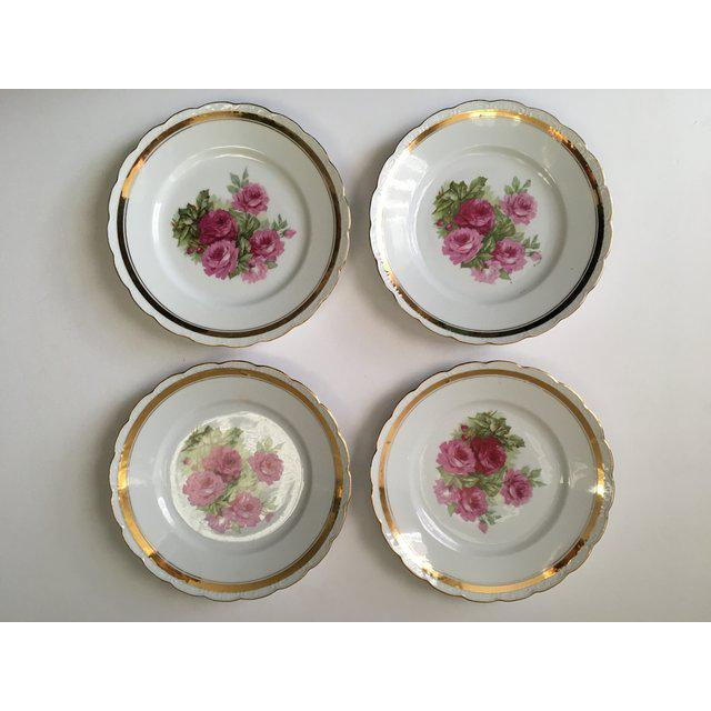 Scallop Edged Rose Plates - Set of 4 For Sale In Tampa - Image 6 of 6