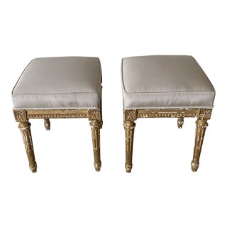 Late 20th Century Gilded Louis XVI Stools- a Pair For Sale