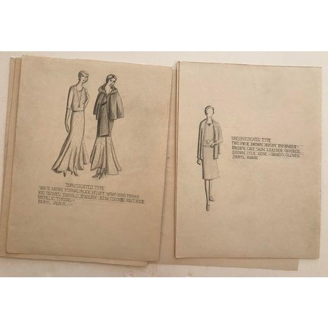 Portfolio of Fashion Designs by Beryl Adair Trezise, C. 1930 For Sale - Image 4 of 7