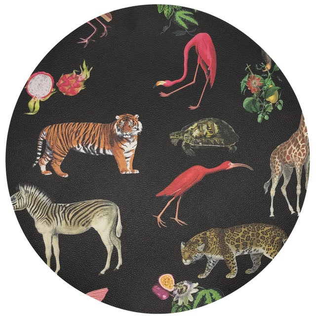 "African Nicolette Mayer Exotix Black 16"" Round Pebble Placemat For Sale - Image 3 of 3"