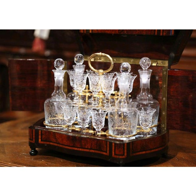 Metal 19th Century French Napoleon III Walnut and Burl Complete Cave a Liqueur For Sale - Image 7 of 13