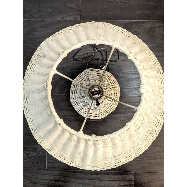 Ivory Vintage 1970s Whitewash Wicker Table Lamp For Sale - Image 8 of 10