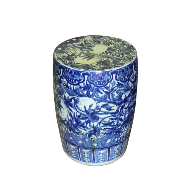 Chinoiserie Chinese Round Peach Flower Blue White Porcelain Stool Table For Sale - Image 3 of 7