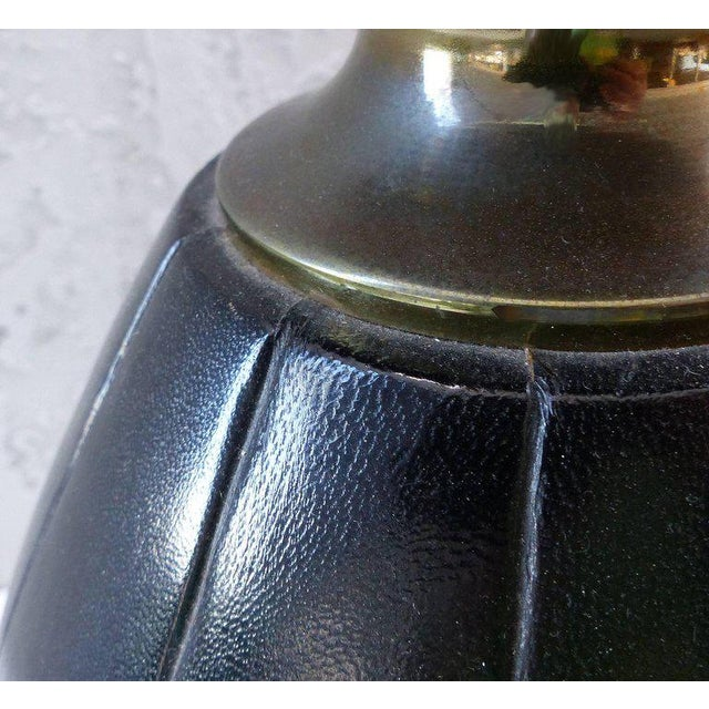 Elegant and Unusual 1940s Leather and Brass Table Lamp For Sale In Miami - Image 6 of 10