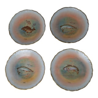 Late 19th Century Imperial Limoges Porcelain Fish Plates - Set of 4 For Sale