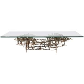 "Daniel Gluck ""The Maze"" Brutalist Coffee Table in Bronze For Sale"