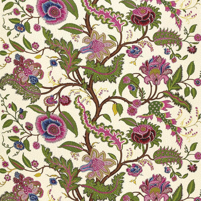 This traditional tree of life design derives from an antique French indienne print, reinterpreted to suit today's rooms....
