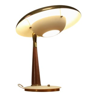 Arredoluce Desk Lamp in Lacquered Metal, Brass and Leather. Italy, 1950s For Sale