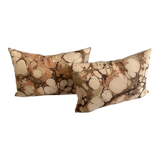 Rule of Three Marbled Silk Pillows - A Pair For Sale