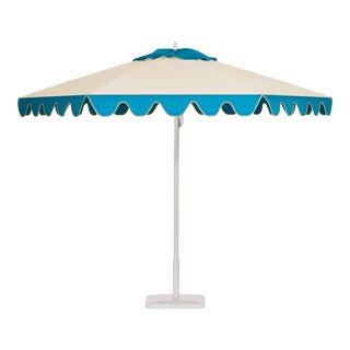 Blueberry Smoothie 9' Patio Umbrella, Aqua & Off-white For Sale
