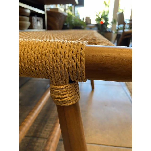 Woven Cord and Teak Bench For Sale - Image 4 of 10