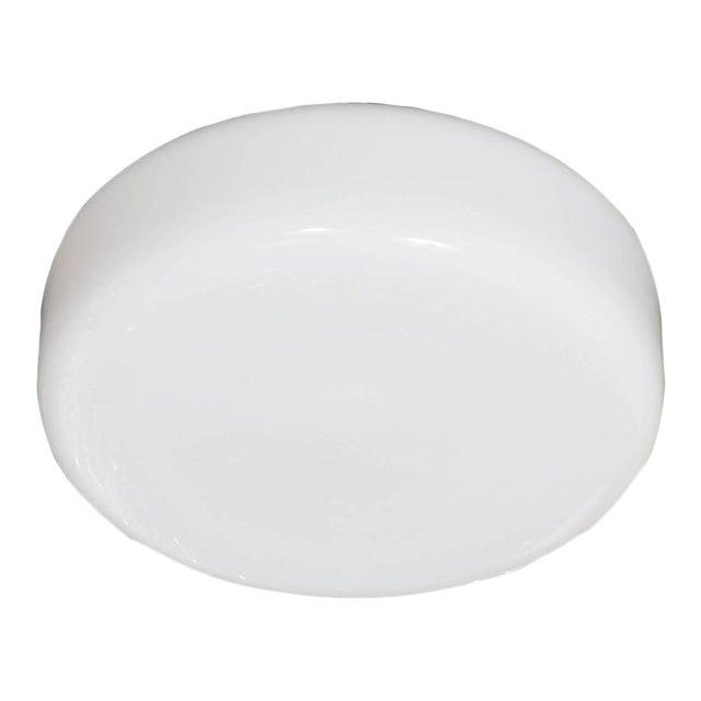 Mid-Century Modernist Milk Glass Flush Mount Chandelier For Sale