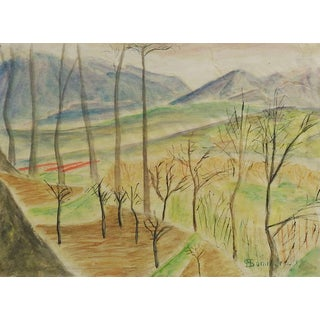 Modernist Landscape Watercolor Painting For Sale