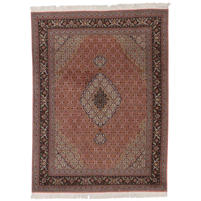 Vintage Persian Tabriz Rug with Mahi Design and Traditional Style For Sale