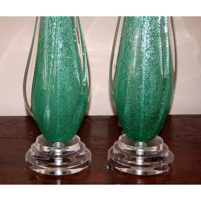 Vintage Murano Pulegoso Glass Table Lamps Green For Sale In Little Rock - Image 6 of 8