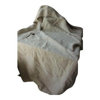 Old Linen Sheet Handwoven Linen 5 Pounds Heavy Nubby Fabric Hemp 51x85 For Sale