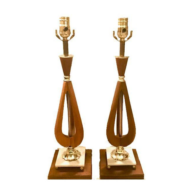 Brass Mid-Century Modern Wood Table Lamps - A Pair For Sale - Image 7 of 7