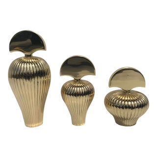 Decorative Brass Perfume Bottles - Set of 3 For Sale
